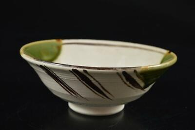 S378: Japanese Oribe-ware Green glaze TEA BOWL Green tea tool, auto Tea Ceremony
