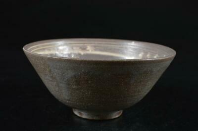 G9685: Japan Kiyomizu-ware glay glaze Flower sculpture TEA BOWL Green tea tool