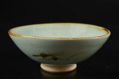 S384: Japanese Kiyomizu-ware Muffle painting TEA BOWL Green tea tool