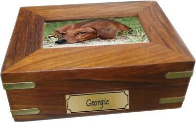 Lovely Wooden Photo Box Urn with Brass Trims