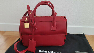 458fd2e8239d SAINT LAURENT CLASSIC Duffle 6 red smooth leather top handle ...