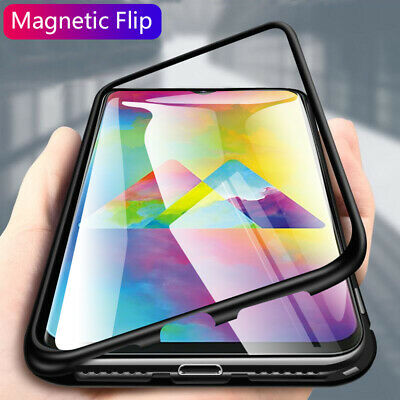 Fits Samsung Galaxy M10 M20 Magnetic Adsorption Metal Case Tempered Glass Cover