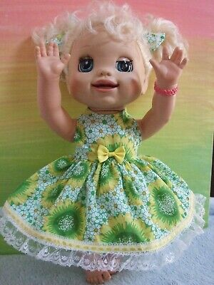 "Dolls Clothes for 16"" BABY ALIVE DOLL ~ sunflower / 3pc dress~knickers~hair bows"