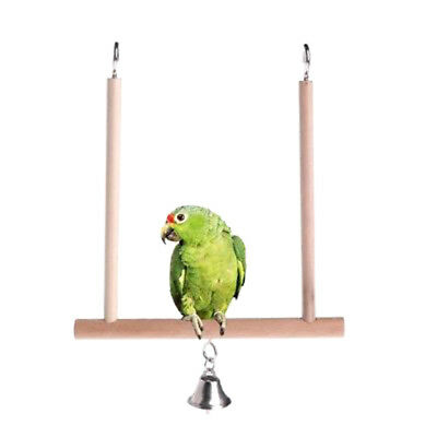 Birds Perch Parrot Play Toys Stand Holder natural Wooden Swing^Bell Cage'Hang SF