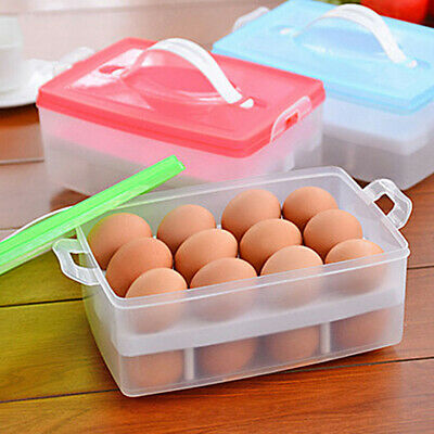 24 Grids Egg Holder Tray Plastic Refrigerator Storage Box Container Case Kitchen
