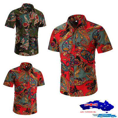 AU Luxury Men's Short Sleeve Floral Shirts Casual Slim Fit Dress Top Tee T-shirt