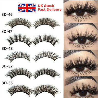 5 Pairs 3D Fake Eyelashes Long Thick Natural False Eye Lashes Set Mink Makeup UK