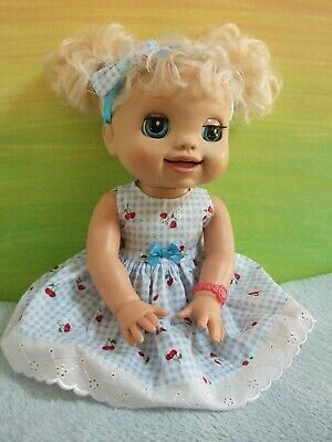 Dolls Clothes for 38cm MED BABY ALIVE DOLL ~ dress & headband / cherries