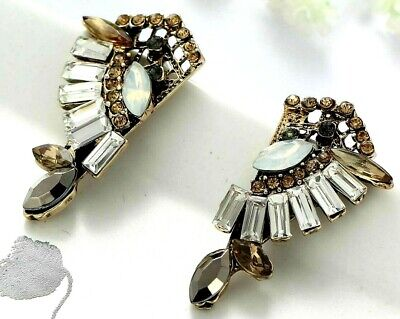 Drop Earrings Long with rhinestone Shuttles moonstone and baguettes x Hole