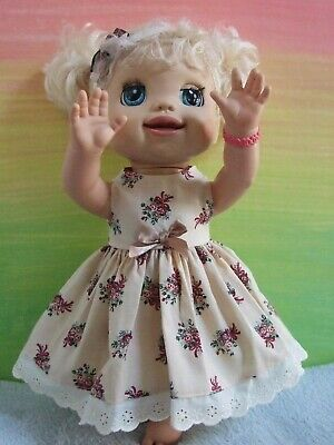 Dolls Clothes for 38cm MED BABY ALIVE DOLL ~ dress & headband / bouquets