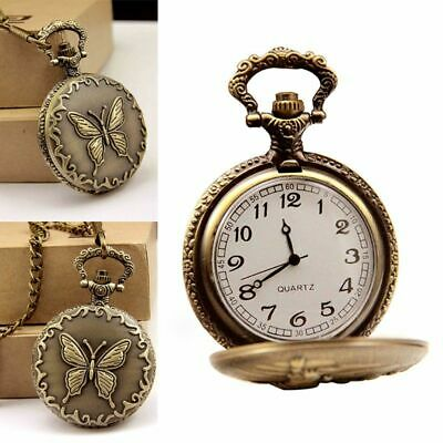 Vintage Pocket Watch Bronze Butterfly Carved Floral Cover Pendant Necklace Chain