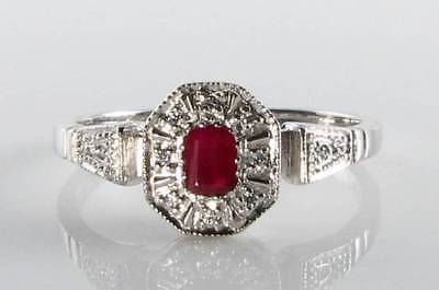 Dainty 9K 9Ct White Gold Ruby & Diamond Art Deco Vintage Ins Ring Free Resize