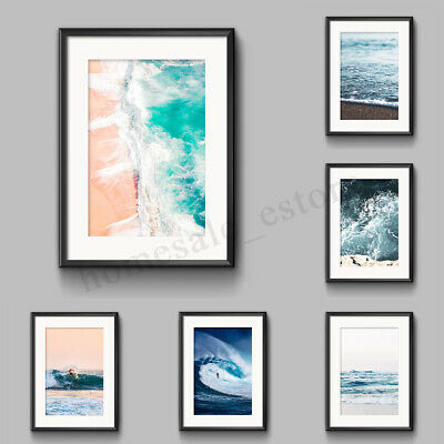 Ocean Sea Waves Nordic Poster Wall Art Canvas Print Seascape Picture Decor