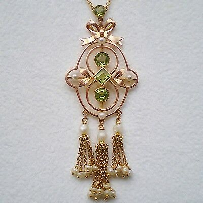 Fine Antique Edwardian 9ct Gold Peridot & Pearl Tassel Pendant Necklace c1905