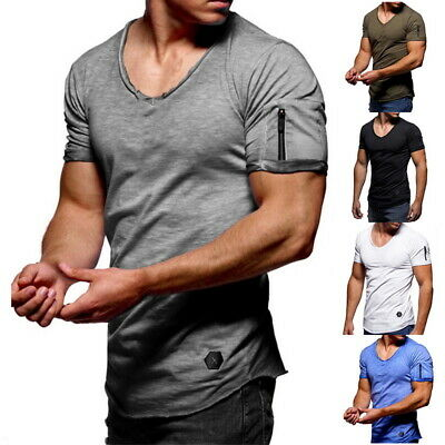 Summer Mens Short Sleeve O-Neck T-Shirts Basic Tee Casual Slim FIt Muscle Tops