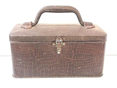 Vintage WILLOW TIN METAL LUNCH BOX / PAIL with Handle & Snake Skin Print