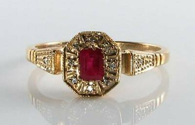 Dainty 9Ct 9K Gold  Indian Ruby & Diamond Art Deco Ins Ring Free Resize