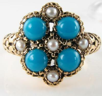 Large 9K 9Ct Gold Persian Turquoise & Pearl Cluster Art Deco Ins Ring Free Size