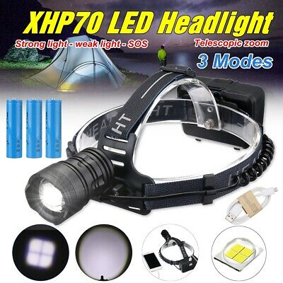 60000LM XHP70 LED Zoom Rechargeable Headlamp 18650 Headlight Torch