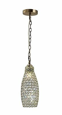 Kudo Crystal Drum Shade Non-Electric Antique Brass/Crystal - IL60033