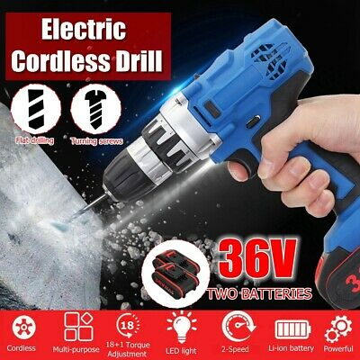 36V Electric Cordless Drill Double Speed 2 Pcs Li-Ion Battery 18+1 Driver LED