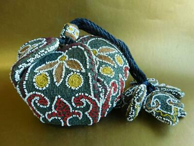 Gorgeous 1930s Art Deco Beaded & Crochet Draw String Purse Bag