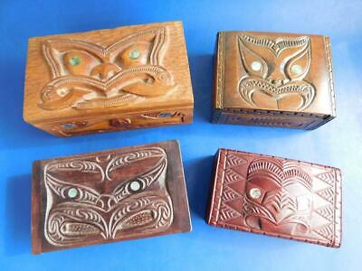 4 Vintage New Zealand Maori Carved Wooden Tiki Boxes Oceanic Art