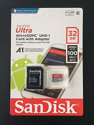 32GB SanDisk Class 10 Memory Card Ultra Micro SD SDXC 100MB/s UHS-I + Adapter