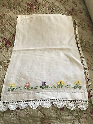 Beautiful Embrodered Huckaback Hand Towel With Crochet Edging