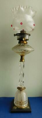 Exquisite Cut Glass Table Banquet Lamp with Hinks Patent Duplex Burner