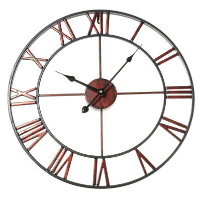 Metal Classic Large Wrought Iron Wall Clock Provincial Roman Numerals Home Decor