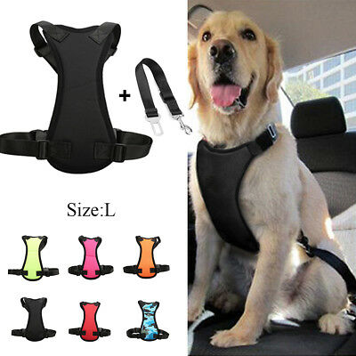 Large Air Mesh Puppy Pet Dog Car Harness and Seatbelt Clip Lead for Dogs Travel