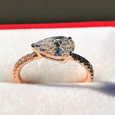 East-West Pear Near White 1.45 Ct Moissanite Engagement Ring 14k Solid Rose Gold