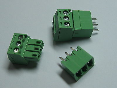 150 pcs Screw Terminal Block Connector 3.5mm 3 pin/way Green Pluggable Type New