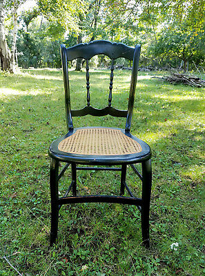 Antique Cane Seat Spindle Back Chair