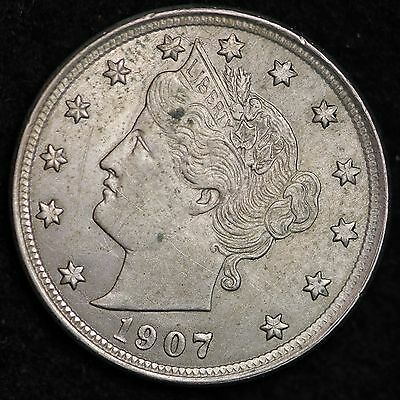 1907 Liberty V Nickel CHOICE AU FREE SHIPPING E188 NM
