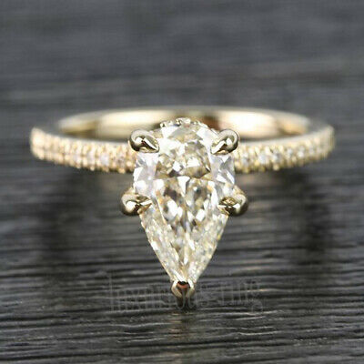 1.46 Ct Pear Near White Moissanite Engagement Wedding Ring 14k Solid Yellow Gold