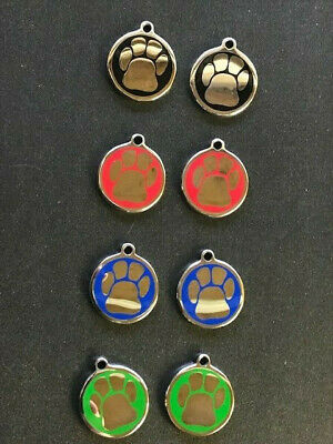 10 x PET IDENTITY TAGS STAINLESS STEEL 25mm  for DOG or CAT. PAW DESIGN DISCS