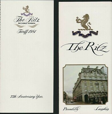 The Ritz, Piccadilly, London 1981 Brochure & Tariff Room Prices   HL2.1112