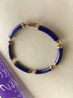 "Vtg~~Preowned~~14Kt~Gold & Lapis 7""Bracelet/safety Clasp Good Condition^*rare*^"