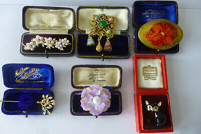 Vintage Jewellery A Charming Mixed Job Lot Of Brooches Pins Various Eras