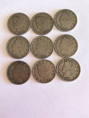 US  Liberty V Nickels Circulated Lot of Nine  (9) Coins