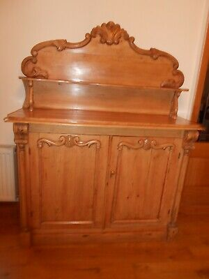 Antique Pine chiffonier with carved decorative detailing, believed to be Dutch