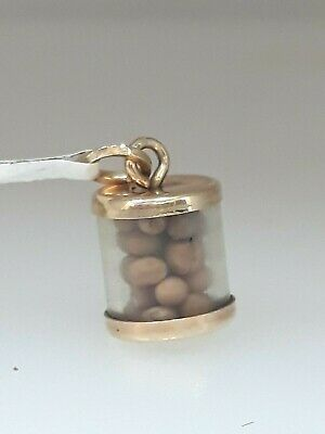 14k Yellow Gold Mustard Seed Charm Pendant Religious Faith Luck