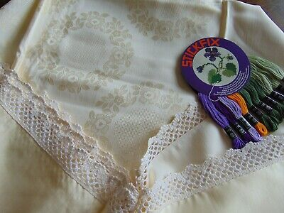 VINTAGE UNUSED HUGE COTTON DAMASK TABLECLOTH KIT FOR EMBROIDERY PANSIES 179x142