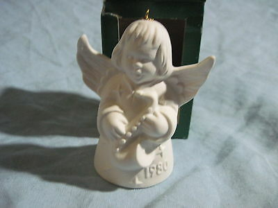 1980 Goebel ANGEL BELL ORNAMENT White Bisque With Saxophone in Box