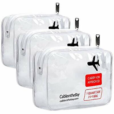Toiletry Bags TSA Approved Clear Travel Bag(3PACK)Quart Sized With ZipperAirport