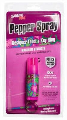 Sabre Red Pepper Spray Maximum Strength Designer Label and Key Ring