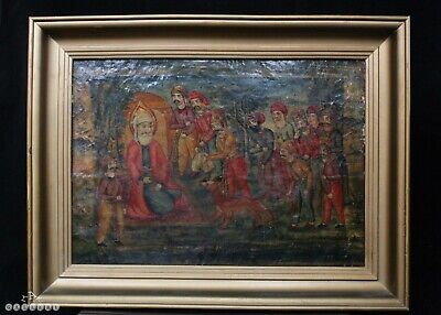 Antique Qajar Dynasty Persian Painting Oil on Board c.1880