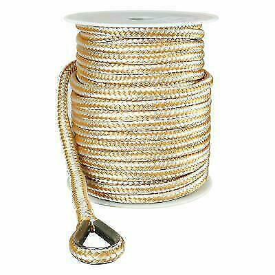 "US Ropes Nylon Double Braided Anchor Line 5/8"" x 200' Gold and White"